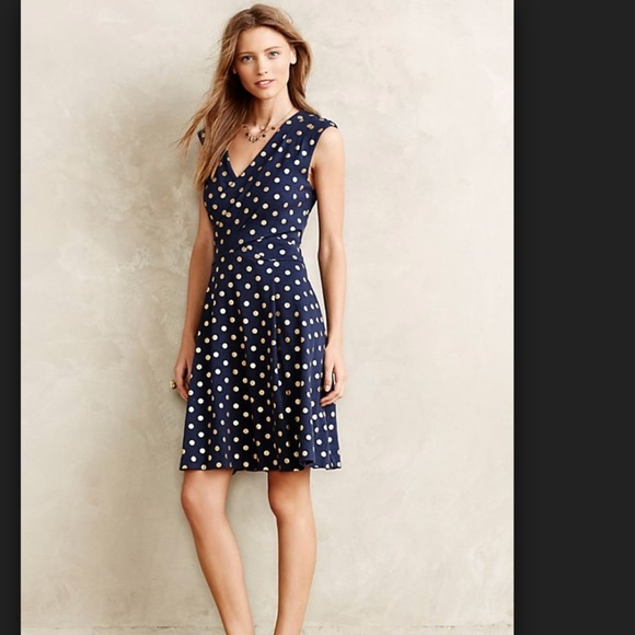 Anthropologie Dresses & Skirts - Beautiful navy and gold polka dot dress